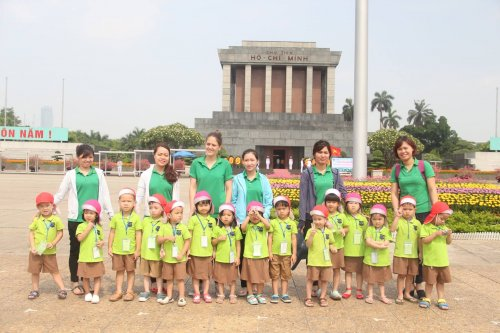 Outside Of Ho Chi Minh Mausoleum In Hanoi Vietnam